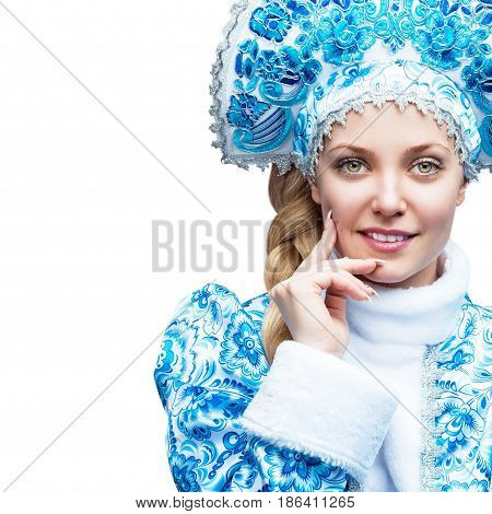Snow Maiden. Winter portrait of a beautiful young smiling woman. Skin Care