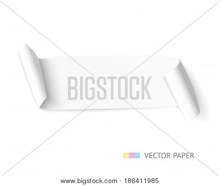 White curved paper ribbon banner with paper scroll isolated on white background. Realistic vector paper with shadow template for promo and sale.