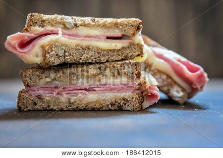 A grilled ham and swiss cheese sandwich toast