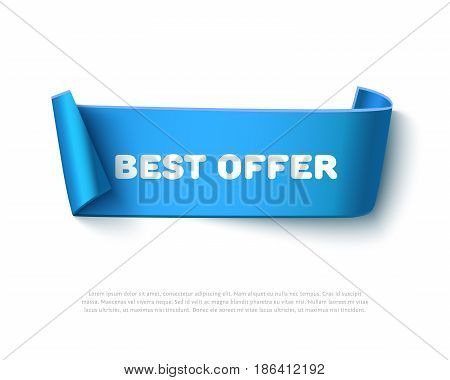 Blue curved paper ribbon banner with paper rolls and text Best Offer isolated on white background. Realistic vector paper template for promo and sale advertising.