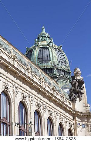 Municipal House sculpture facade Prague Czech Republic