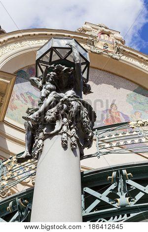 Municipal House sculpture mosaic Prague Czech Republic