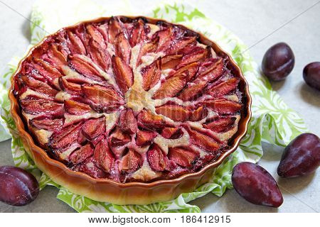 Low carb dessert. Plum pie with almond dough