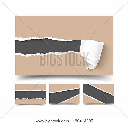 Business card with torn craft paper mock up, realistic vector illustration. Brown craft paper card with holes and paper roll, ripped edges and space for text. Business card template.
