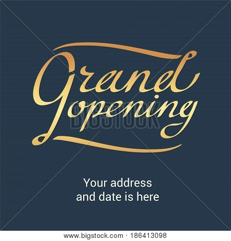 Grand opening vector banner. Template festive design element with golden lettering for opening ceremony