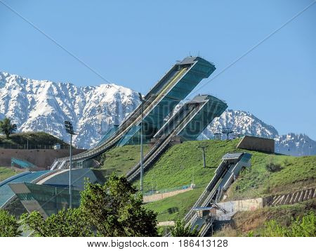 ALMATY KAZAKHSTAN - MAY 12 2017: Springboard complex Sunkar in the city of Almaty Kazakhstan