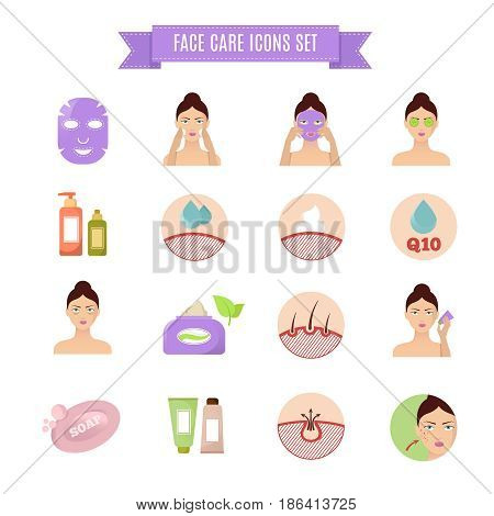 Healthy skin and care vector flat icons. Beauty spa icons, illustration of natural method spa skin