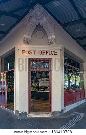 Melbourne Australia - April 4 2017: Old Post Office Building exterior entrance. Therry street