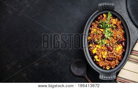Traditional mexican food - Chili con carne, mexican stew with ground beef, tomato and hot chili peppers