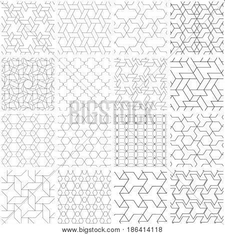 25 Universal different vector seamless patterns. Endless texture can be used for wallpaper, pattern fills, web page background, surface textures. Set of monochrome geometric ornaments.