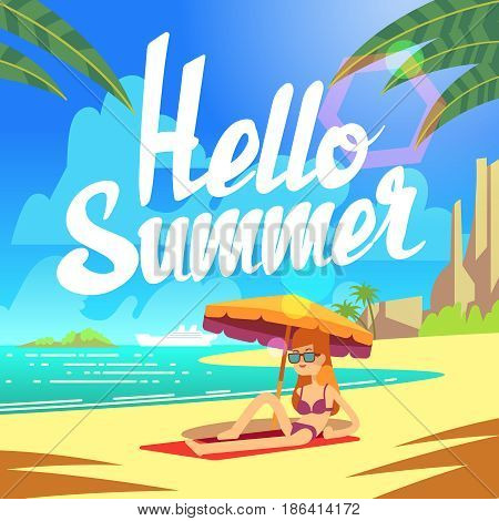 Summer holiday vector background with sea beach and relaxing people. Holiday vacation ocean, illustration of tropical relaxation summer beach