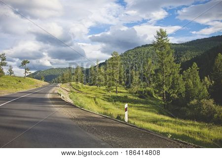 Mountain Altai Road. Chuysk Tract. Summer Landscape