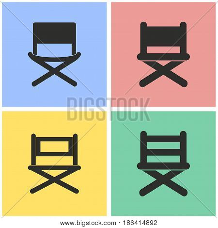 Director chair vector icons set. Black illustration isolated for graphic and web design.