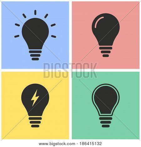 Lamp vector icons set. Black illustration isolated for graphic and web design.