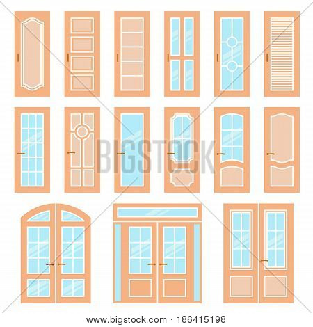 Vector doors design set. Modern and classic flat enterance collection. Interior doorway illustration. Elegant wood passage construction. Wooden colorful style isolated.