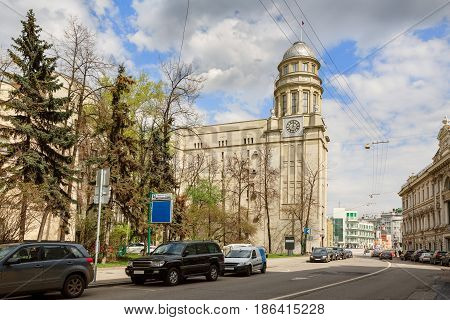 Headquarters of Ministry of Labour and Social Affairs in Ilyinka-street. Moscow, Russia. poster