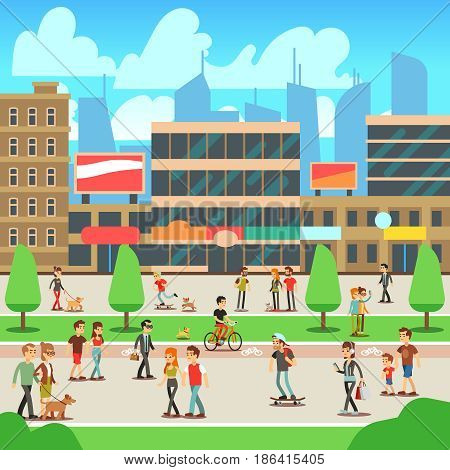 People walking on city street with urban cityscape vector illustration. Urban street with building and people