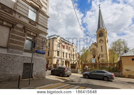 Evangelical Lutheran Cathedral of saints Peter and Paul in the area of Kitay-Gorod within the central part of Moscow in Russia.