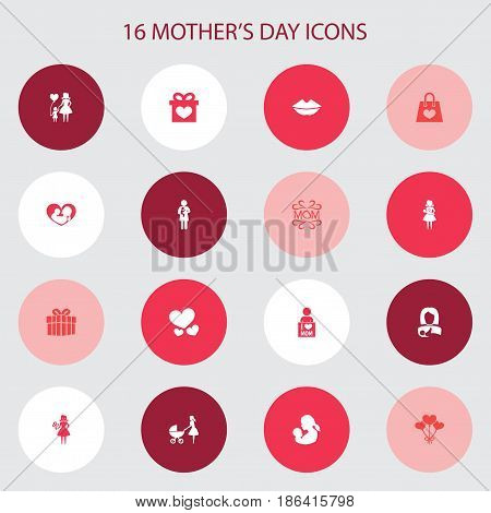 Mothers Day Icon Design Concept. Set Of 16 Such Elements As Protect, Package And Newborn Baby. Beautiful Symbols For Mouth, Infant And Present.