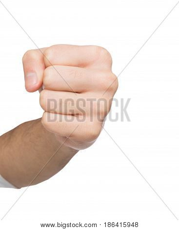 Hand gesture, punch. Man clenched fist, ready to fight, isolated on white, close-up, copy space