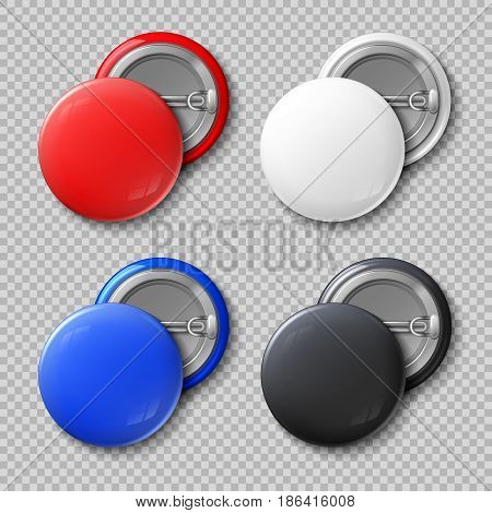 Advertise blank color round metal buttons or badges isolated vector set. Template colored souvenir badge, pin label circle illustration