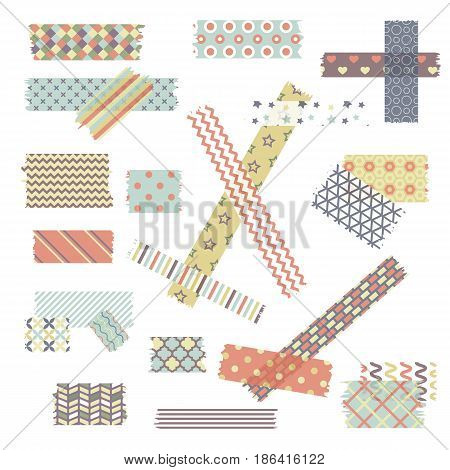 Scotch, color patterned adhesive tape collection, different size pieces isolated on white background. Vector set of torn paper edges