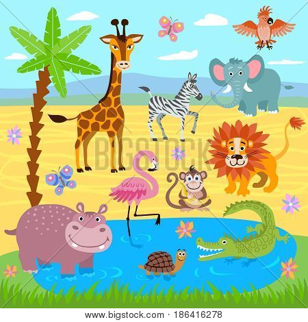 Baby jungle and safari zoo animals vector nature background. Wildlife safari zoo, illustration of wild animals giraffe and turtle