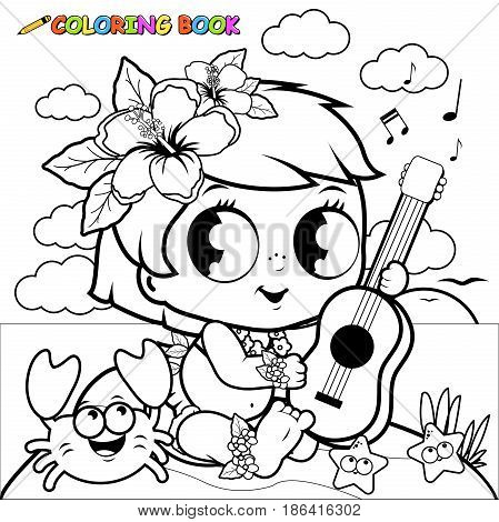 Hawaiian baby girl on an island playing the ukulele. Coloring book page