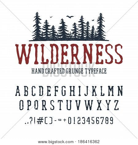 Hand drawn Wilderness font. Latin alphabet vector letters numbers and signs. PIne trees vector illustration.