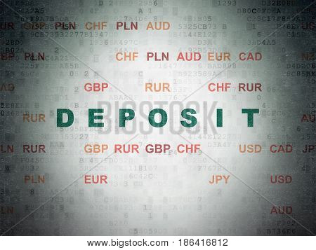 Currency concept: Painted green text Deposit on Digital Data Paper background with Currency