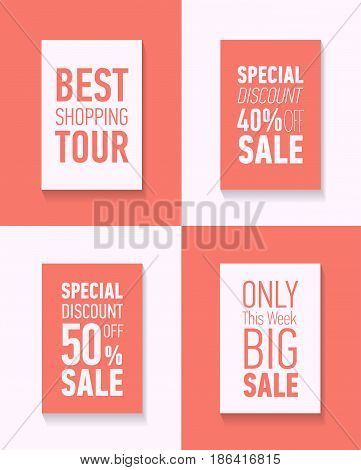 Flat modern sale posters. Best shopping tour. Special discount 50 off sale. Only this week big sale. Discount card design.