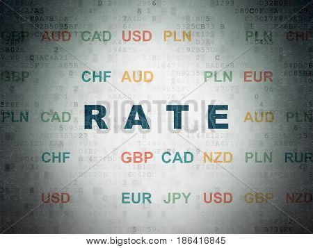 Currency concept: Painted blue text Rate on Digital Data Paper background with Currency
