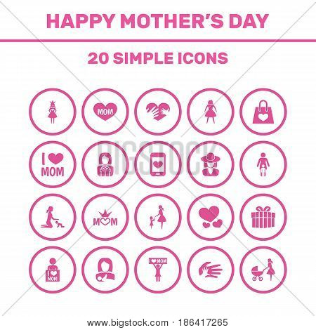 Mothers Day Icon Design Concept. Set Of 20 Such Elements As Heart, Gift And Cellphone. Beautiful Symbols For Mom, Text And Loving.