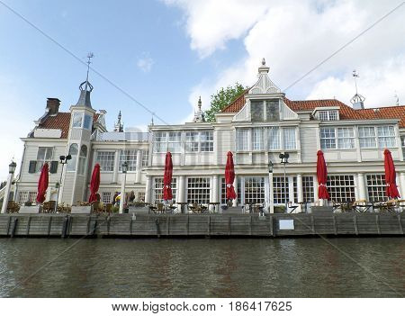 Impressive Waterfront Terrace View from the Canal Cruise, Amsterdam, The Netherlands