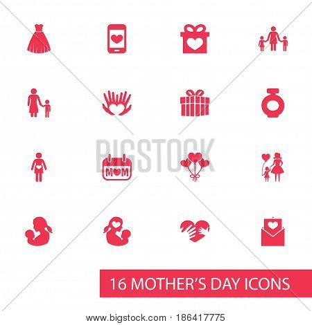 Mothers Day Icon Design Concept. Set Of 16 Such Elements As Madame, Decoration And Baby. Beautiful Symbols For Baby, Balloon And Gown.