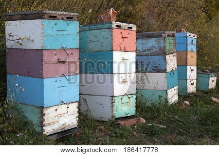 beehives in several colors at sundown on coast of peloponnese near the sea in greece