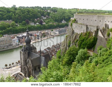 Church of Our Lady and the Meuse River as seen from the Citadel of Dinant, Wallonia Region, Belgium