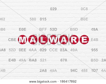 Security concept: Painted red text Malware on White Brick wall background with Hexadecimal Code