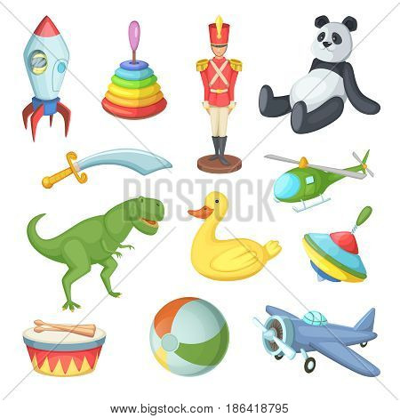 Vector illustration of funny cartoon toys for childrens isolate on white background. Cartoon plane and toys animal, whirligig and rocket toy