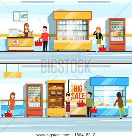Vector concept illustration of shopping. Peoples in supermarket interior. Shop counter and different products. Checkout line. Shopping and assortment food in retail, department of market retail
