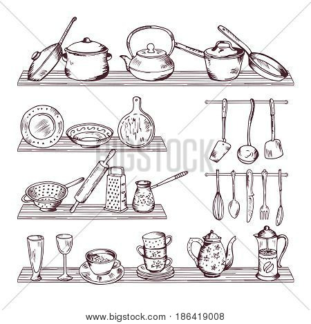 Kitchen wooden shelves with different tools. Hand drawn vector illustration isolate on white background. Sketch kitchen tools spoon and fork for cooking
