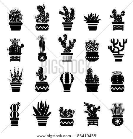 Vector silhouette of desert plants. Monochrome illustrations of decorative cactus in pots. Western icons. Black cactus natural, tropical cacti in pot