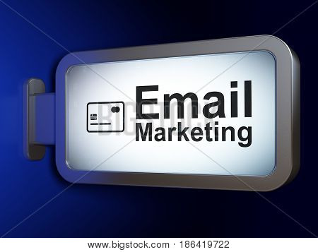 Finance concept: Email Marketing and Credit Card on advertising billboard background, 3D rendering