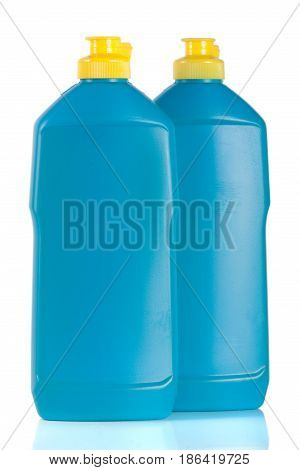 bottle of dishwashing detergent isolated on white background.
