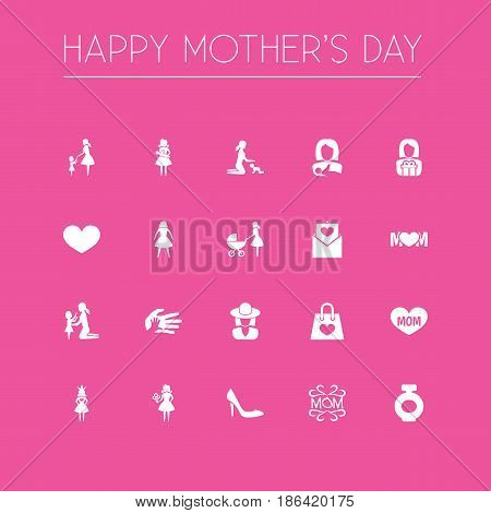 Mothers Day Icon Design Concept. Set Of 20 Such Elements As Lady, Mam And Female. Beautiful Symbols For Mom, Shoes And Bag.