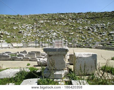 Remains of the Ancient Greek Theater at Archaeological Site of Delos, Delos Island, Mykonos, Greece