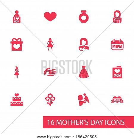 Mothers Day Icon Design Concept. Set Of 16 Such Elements As Holiday, Soul And Gift To Mother. Beautiful Symbols For Bouquet, Hand And Helping.