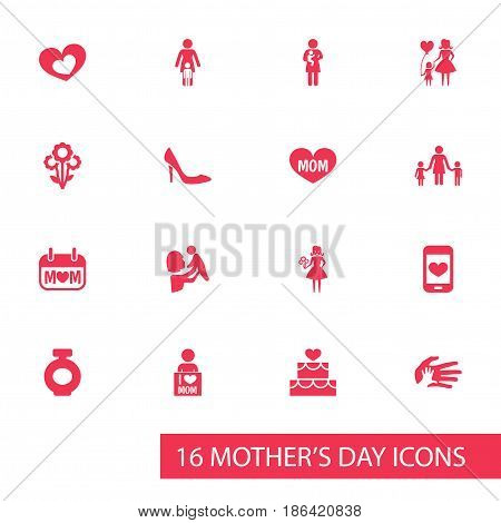 Mothers Day Icon Design Concept. Set Of 16 Such Elements As Newborn Baby, Child And Shape. Beautiful Symbols For Day, Love And Shoes.