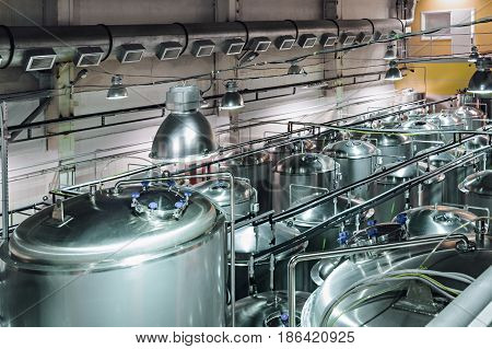 Tanks for storage and processing of food liquids. Modern food production.