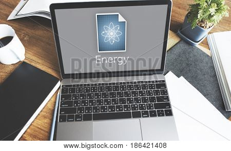Network connection graphic overlay background on laptop screen
